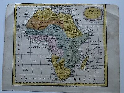 1806 Africa Hand Coloured Original Antique Map 213 Years Old