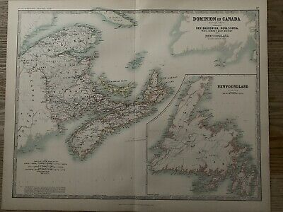 1893 Eastern Canada Large Original Antique Map By Johnston 126 Years Old