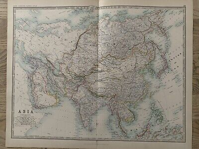 1893 Asia Large Original Antique Map By Johnston 126 Years Old