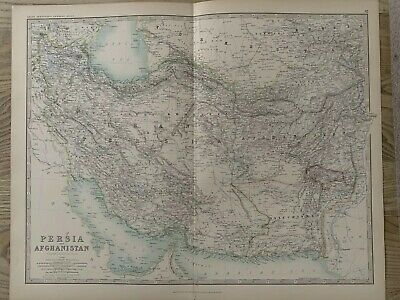 1893 Persia & Afghanistan Large Original Antique Map By Johnston 126 Years Old