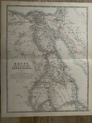 1893 Egypt & Nubia Large Original Antique Map By Johnston 126 Years Old