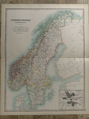 1893 Sweden & Norway Large Original Antique Map By Johnston 126 Years Old