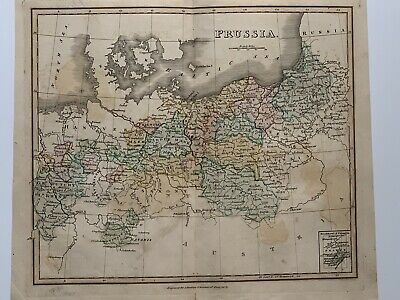 1813 Prussia Original Antique Hand Coloured Map 206 Years Old By J.h Franks