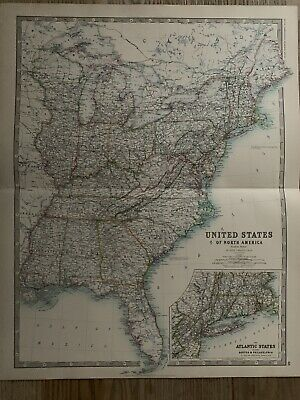 1893 Eastern United States Large Original Antique Map By Johnston 126 Years Old