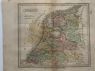 1813 Holland Netherlands Antique Hand Coloured Map 206 Years Old By J.h Franks
