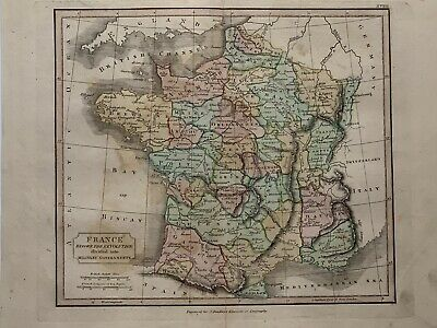 1813 France Military Governments Hand Coloured Map 206 Years Old By J.h Franks