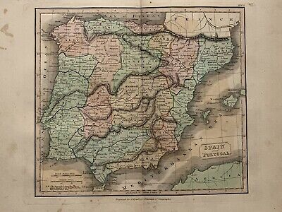 1813 Spain & Portugal Antique Hand Coloured Map 206 Years Old By J.h Franks