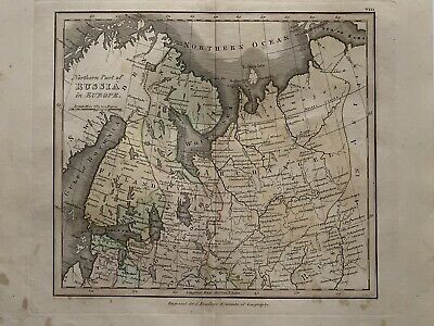1813 North Russia Original Antique Hand Coloured Map 206 Years Old By J.h Franks