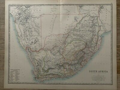 1893 South Africa Large Original Antique Map By Johnston 126 Years Old