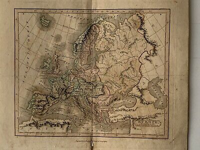 1813 Europe Antique Hand Coloured Map 206 Years Old By J.h. Franks