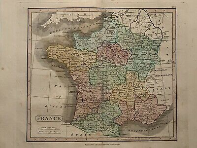 1813 France Original Antique Hand Coloured Map 206 Years Old By J.h Franks