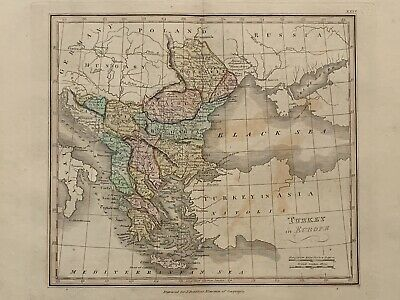 1813 Turkey In Europe Balkans Hand Coloured Map 206 Years Old By J.h Franks