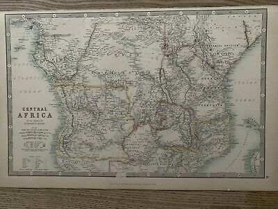 1893 Central Africa Large Original Antique Map By Johnston 126 Years Old