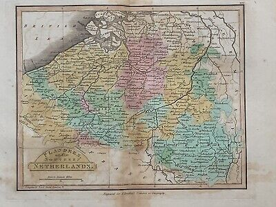 1813 Belgium Flanders Antique Hand Coloured Map 206 Years Old By J.h Franks