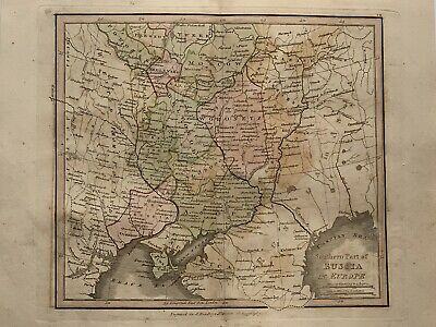 1813 South Russia Original Antique Hand Coloured Map 206 Years Old By J.h Franks