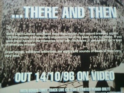 OASIS advertisement flyer THERE AND THEN The Live Experience 14/10/96 FREE POST