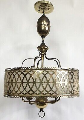 Mid Century Brass Fiberglass Chandelier Hollywood Regency Pull Down Light