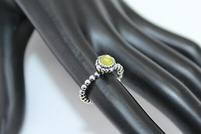 80ee1a84d AUGUST BIRTHDAY BLOOMS PANDORA Silver/GREEN PERIDOT STONE Ring Sz4.5  (1008124-