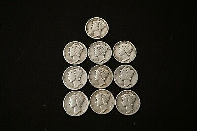 Lot 10 MERCURY DIMES 90% Silver Coins P & S 1935 & 1940's AG to F/VF #MD27220