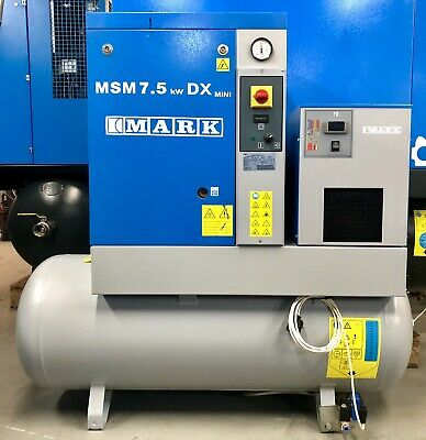 Mark MSM7.5 Receiver Mounted Rotary Screw Compressor With Dryer! 7.5Kw, 33Cfm!