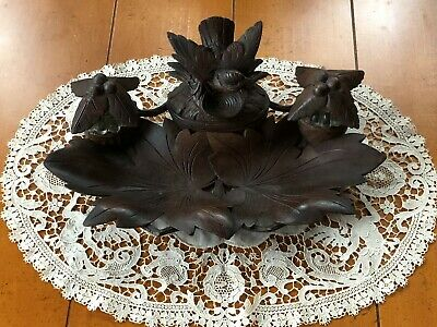Antique Black Forest Carved Bird In Nest Double Inkwell With Pen Tray