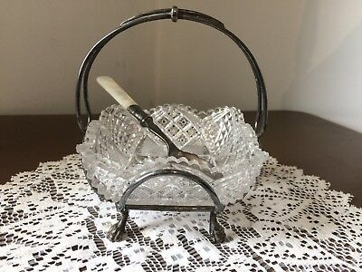 Beautiful Vintage / Antique Cut Glass Sugar Bowl in Silver Plate Holder