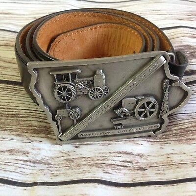Vintage 80s 1987 Waukee Iowa Tractor Belt Buckle And Leather Belt Large