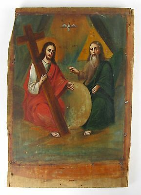 Antique Icon Trinity Orthodox Russian Wood Past centyry 310x210mm