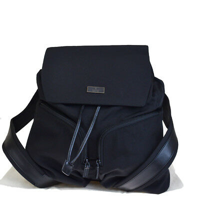 a24a498d73c Authentic GUCCI Logos Backpack Bag Nylon Leather Black made In Italy 62EM790