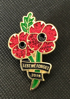 US New 2019 Lest We Forget RED Animals World War Peace Poppy Pin Badge Brooch