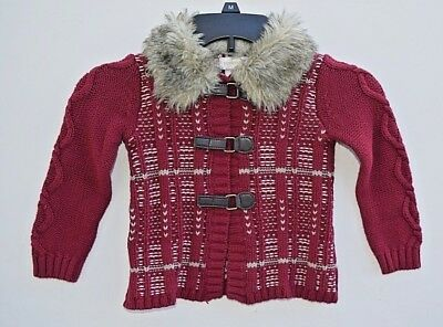 Savannah Girls Sweater Fur Lined Collar Size 3T  Red