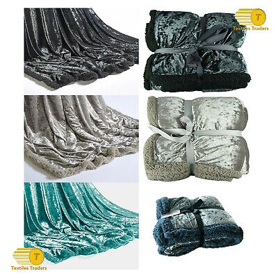 Double Crushed Velvet Charcoal Duck Egg & Silver Sofa Bed Throw / Cushion Cover