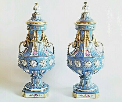 Beautiful 19C French Pair Sevres Porcelain Covered Urns