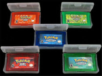 Pokemon 5pc Game Card for GBA GBM SP NDS Sapphire Emerald FireRed LeafGreen Ruby