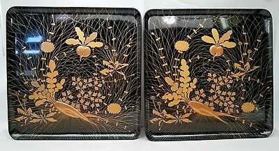 Vintage Mid Century Japanese Set Of 2 Serving Trays - Lacquer Ware Hand Painted