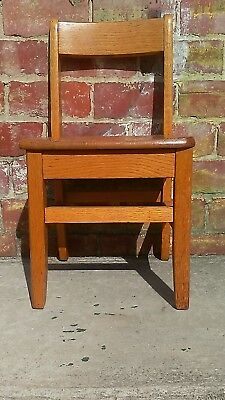 "Vintage Solid Oak Childs Primary School Classroom Library Chair 14"" Seat"