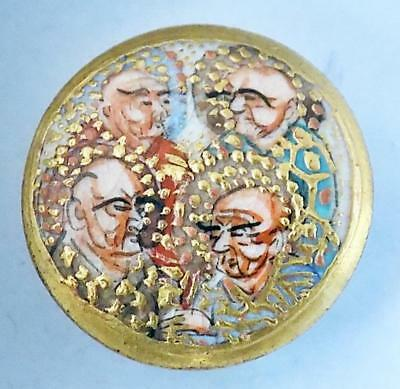 Antique Japanese Satsuma Button Four Immortals Marked Ceramic