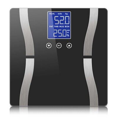 SOGA Digital Body Fat Scale Bathroom Weight Gym Glass Water LCD Electronic
