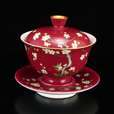 China old antique red Porcelain hand painting Plum blossom cup lid bowl