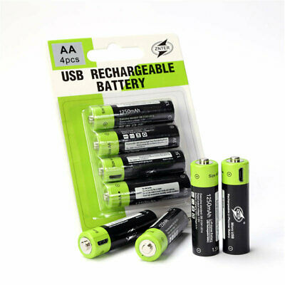 ZNTER ZNT5 AA 1.5V 1250mAh USB Rechargeable Lithium Polymer Battery USB Charging