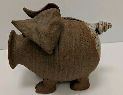 Vintage Hand Made Glazed Stoneware Clay Pottery Piggy Pig Bank