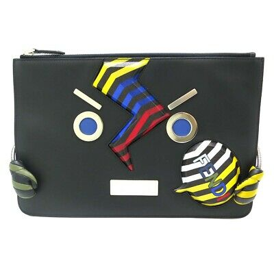 03c4556505 Auth Fendi Black Leather Face No Words Clutch Bag 7N0086 SQFFOX93 (DH50549)