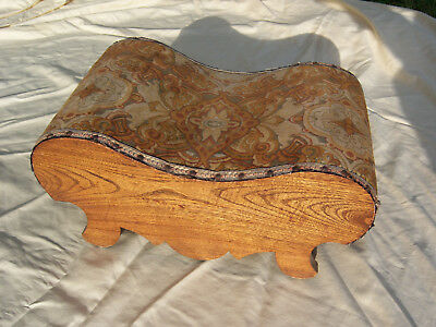 Antique Vintage Petit Original Fabric Top Oak Wood OTTOMAN Foot Stool Furniture