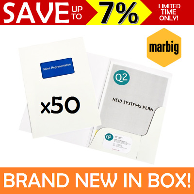 NEW IN BOX 50x Marbig A4 White Professional Series Gloss Presentation Folder AUS