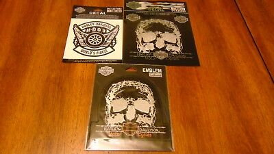 Harley-Davidson 2 decals and one sew on application. (all new)