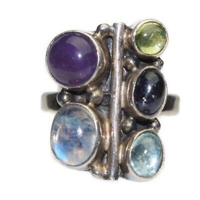 Vintage Genuine Silver Multiple Semi Precious Gem Stones Ring Size 7.75