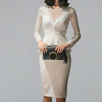 Sexy Lace Patchwork Pencil Sheath Dress Women 2019 Spring OL Party Bodycon White