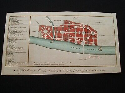 1772 Evelyn Map London England in 1666 After Great Fire Show Landmarks Very Rare