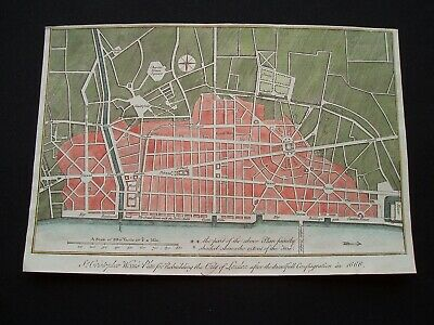 1772 Wren Map London England in 1666 After Great Fire Shows Landmarks Very Rare