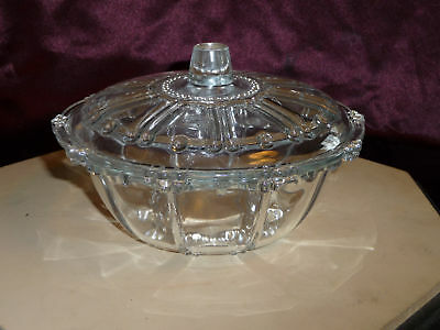 "7"" round patterned glass bowl with lid.  nice design"